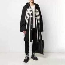 2020春新款时尚气质休闲立体贴片单排扣设计中长款连帽风衣外套女