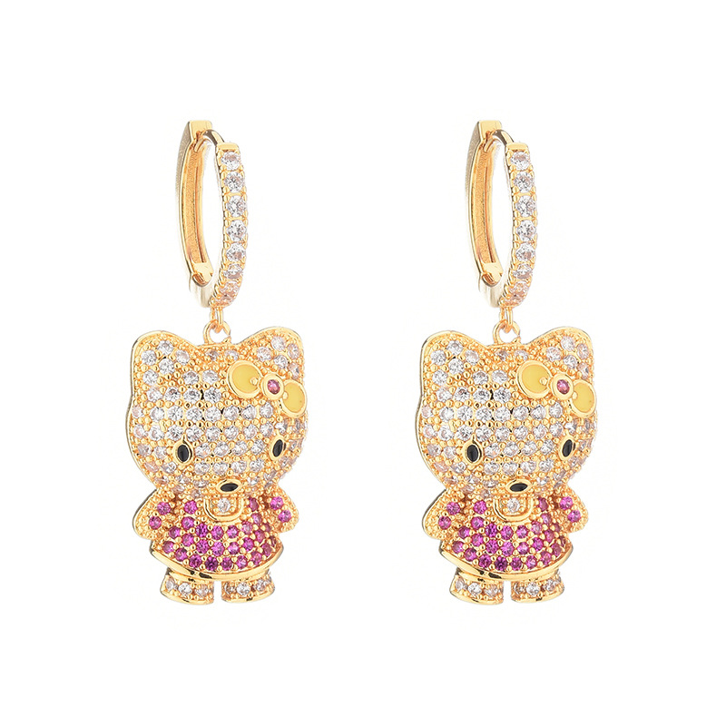 Cute jewelry 18K gold cat micro inlaid color zircon earrings for women NHBR198105