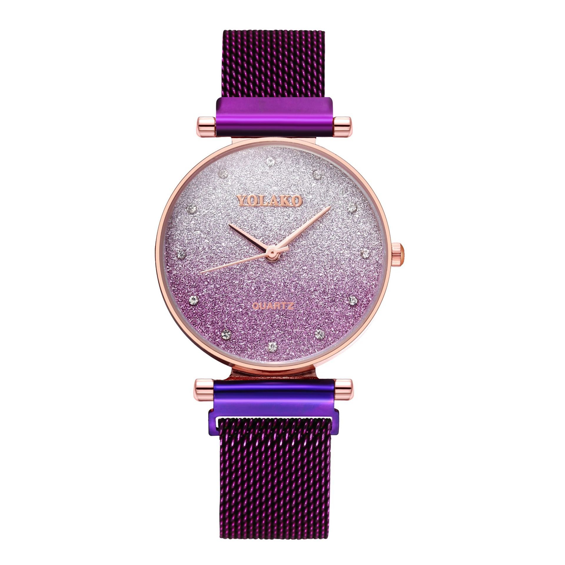 Korean gradient color alloy steel band ladies watch simple small dial inventory diamond British watch NHLN203982