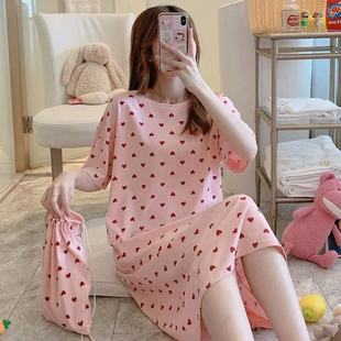 Southeast Asia spot net red summer fresh cartoon nightdress comfortable short-sleeved plus fat plus size dress with cloth bag