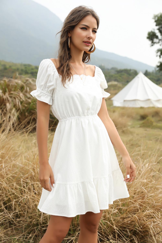 summer new one-word collar elastic waist cotton short-sleeved large hem stitching lace dress wholesale NSDF399