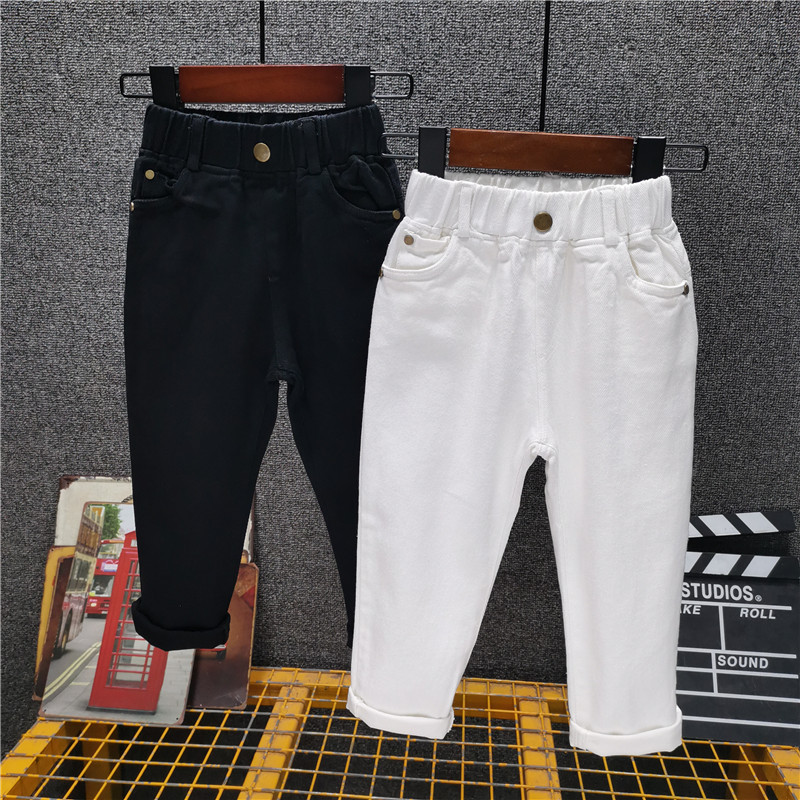Children's Casual Jeans Spring And Autumn New Boys White Pants Girls Slim Black Trousers Korean Style Trend