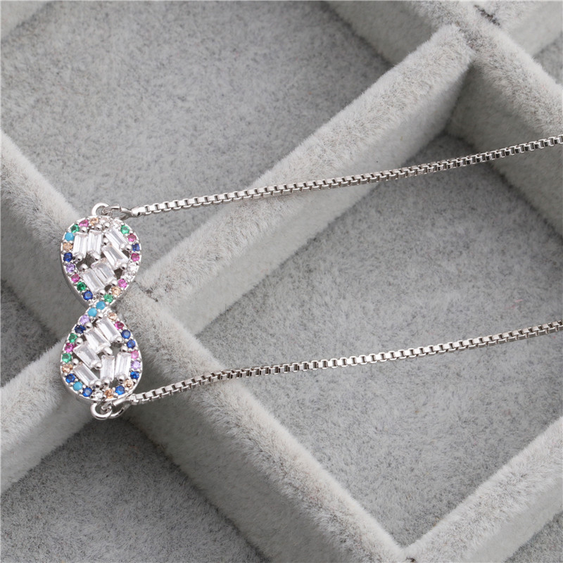 fashion simple  copper necklace 8-word infinity love micro-set zircon necklace wholesale nihaojewelry NHYL226506