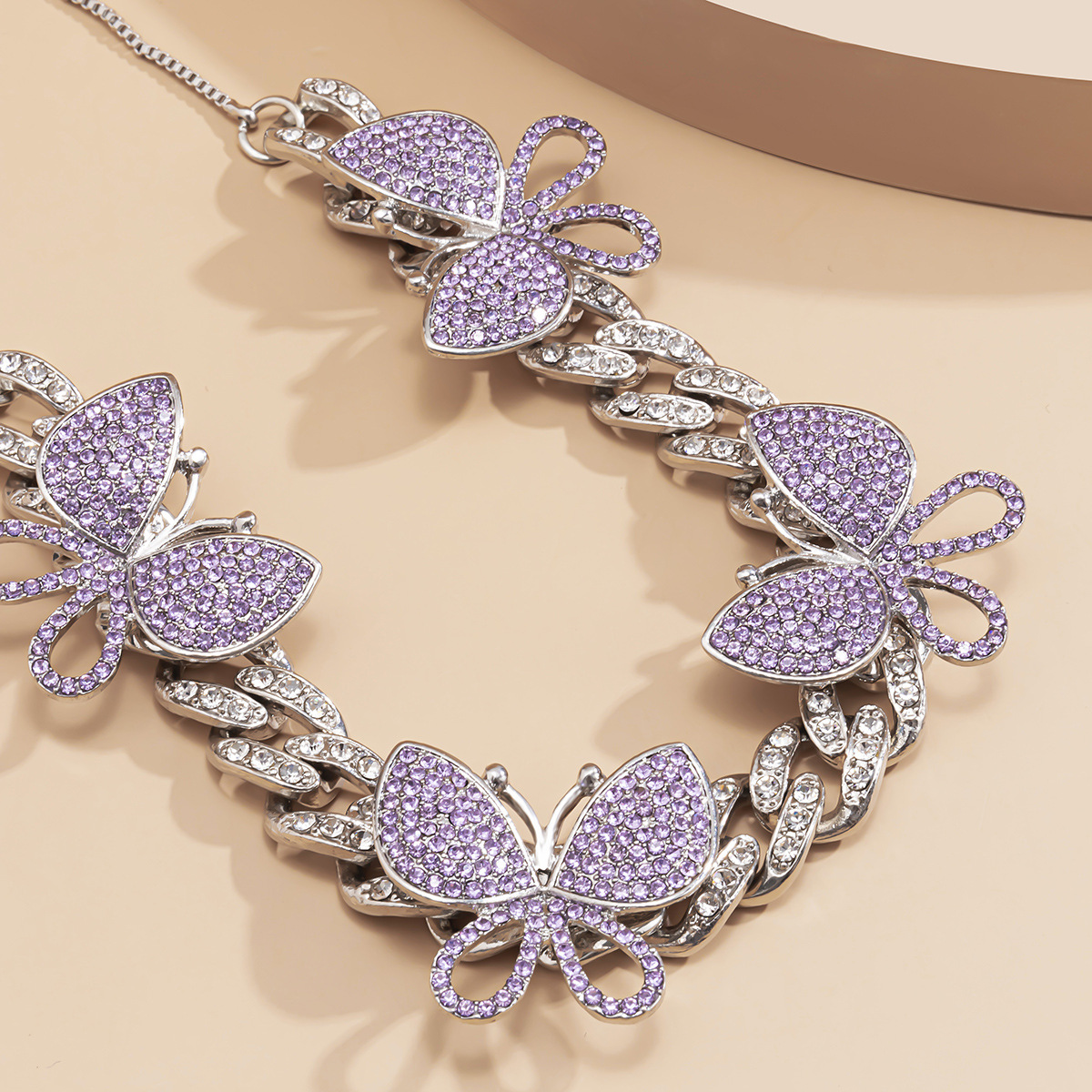 butterfly adjustable diamond necklace NHXR292073
