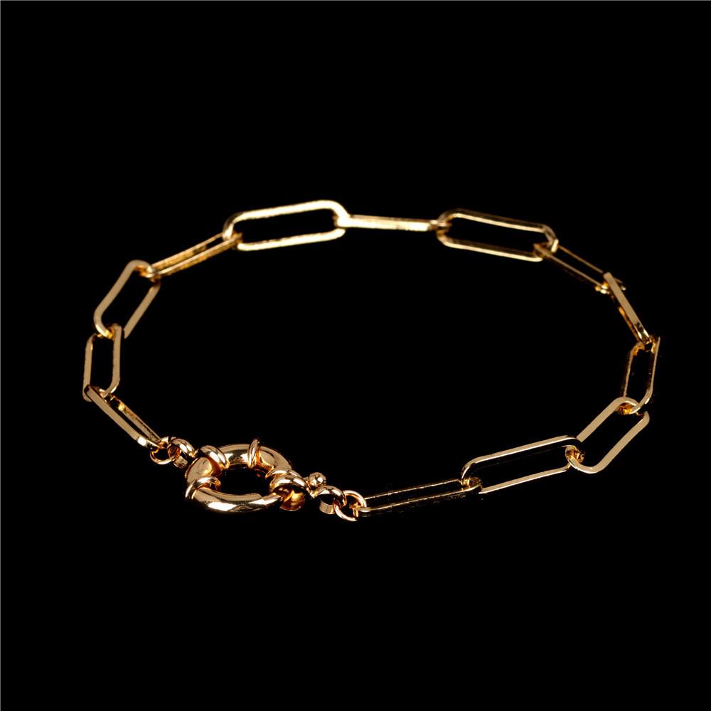 New fashion hiphop oval interlocking bracelet genuine goldplated titanium steel bracelet wholesale NHPY209823
