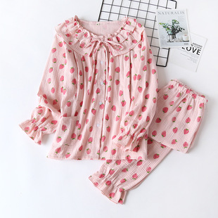 Spring and autumn pregnant women's postpartum crepe breastfeeding pajamas, woven cotton double gauze soft and breathable confinement clothing