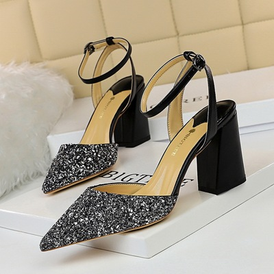 768-1 the European and American wind sexy fashion with shallow mouth thick with high hollow out color matching sequined