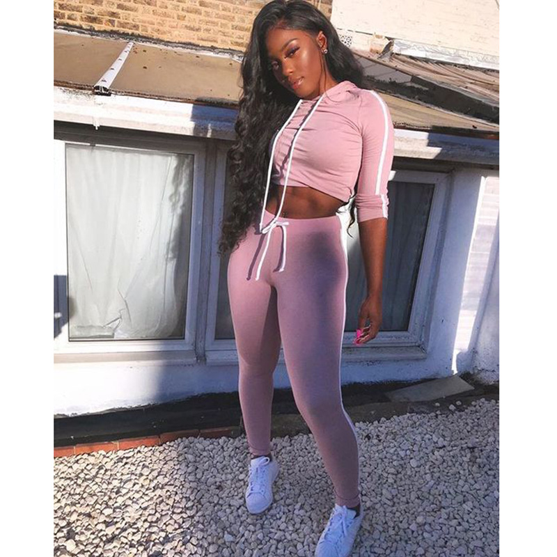 hot style fashion women's long-sleeved hooded solid color casual suit NSKX5969