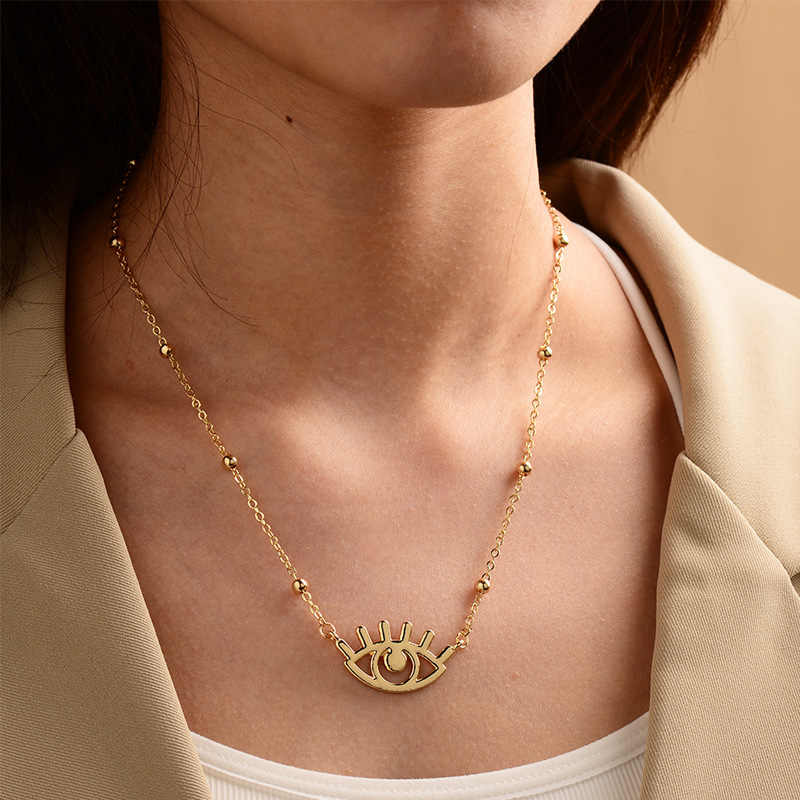 fashion goldplated devils eye necklace NHOT294772