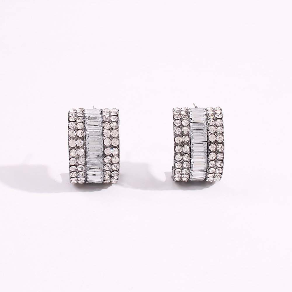 Creative geometric C-shaped stud earrings fashion new wild double row diamond earrings  NHMD200973