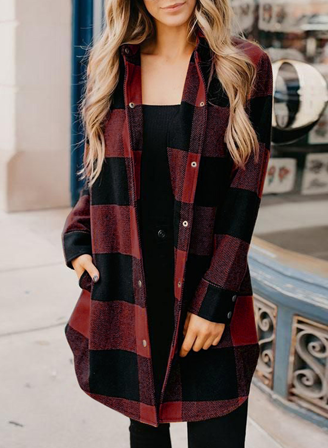 women's autumn and winter new style plaid lapel button press cardigan shirt jacket  NSSI2953
