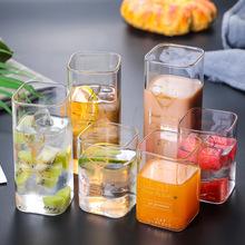 厂家定制 高硼硅无铅玻璃杯子 创意方形透明耐高温玻璃水杯咖啡杯