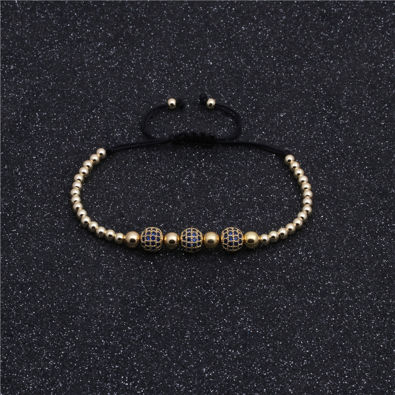 Copper micro inlaid blue zircon 8MM woven bracelet wholesales yiwu supplieres china NHYL202953