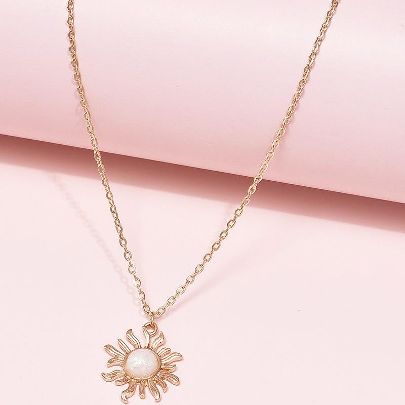 fashion simple retro  sun flower  multilayer  alloy necklace  NHAJ283591