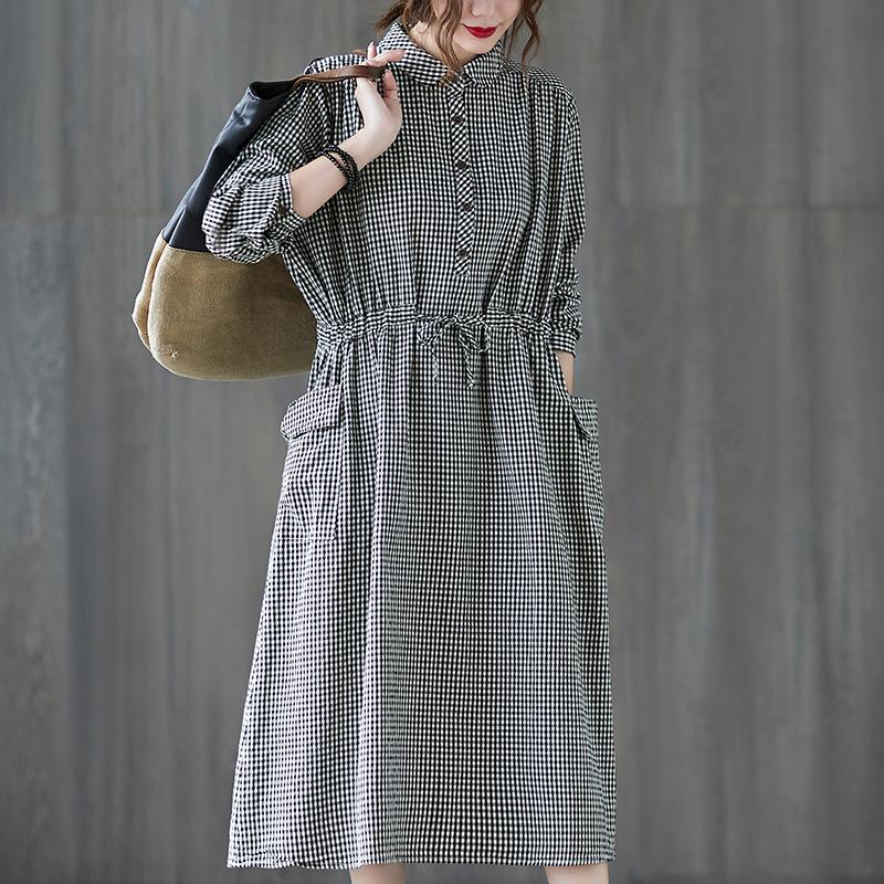 实拍2020春秋装新款女裙 韩版休闲格子大码单排扣长袖衬衣裙