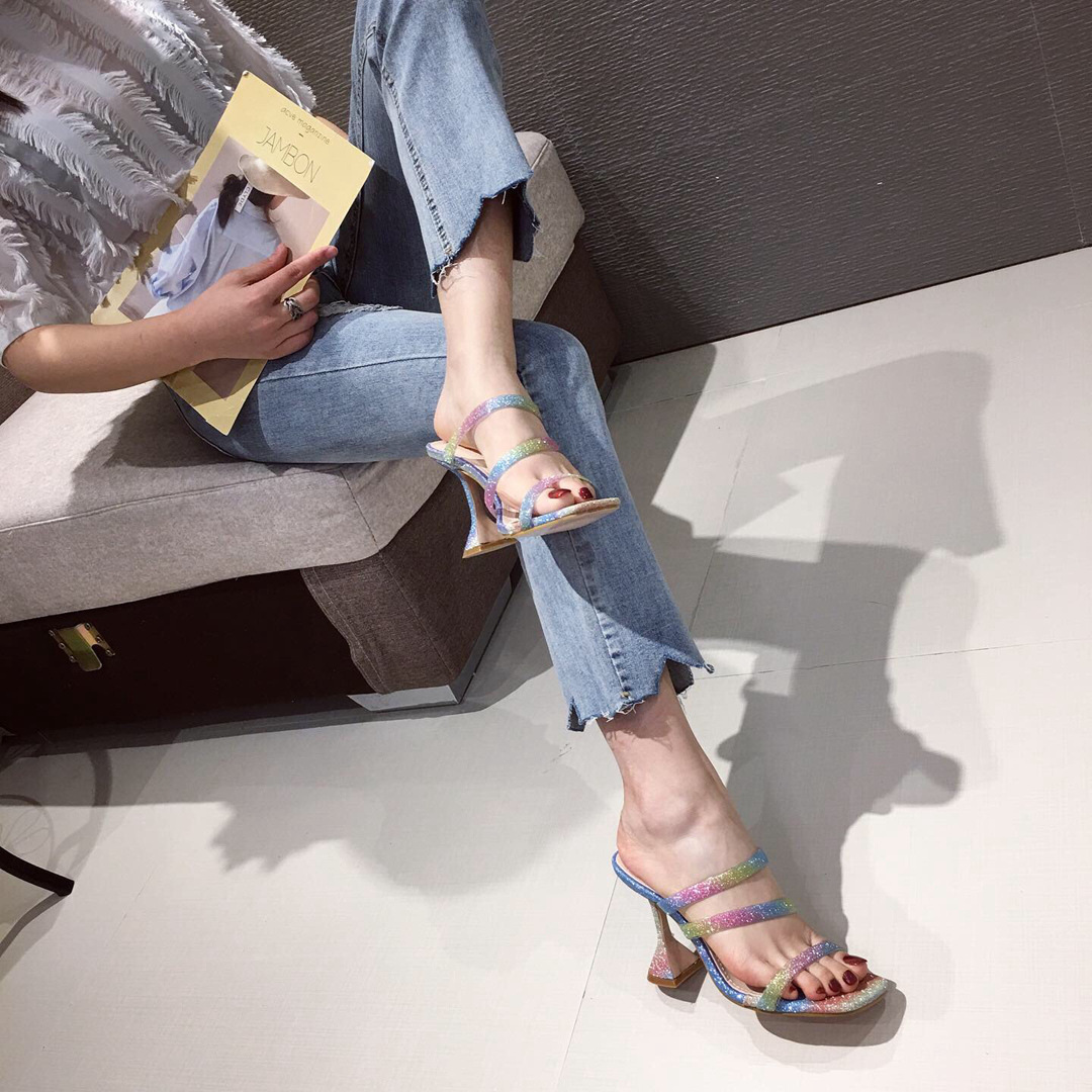 New women's shoes colored transparent thin square head wine glasses and high-heeled sandals and slippers NHSO203238