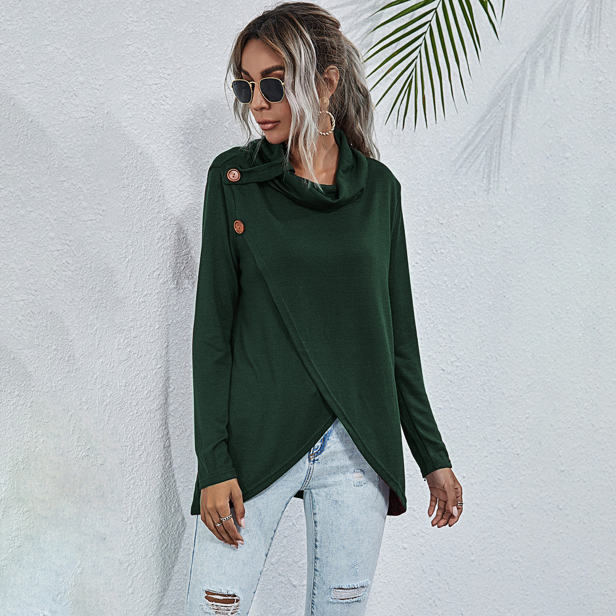 New Multi-Button Sweater Knit Top NSYD3672