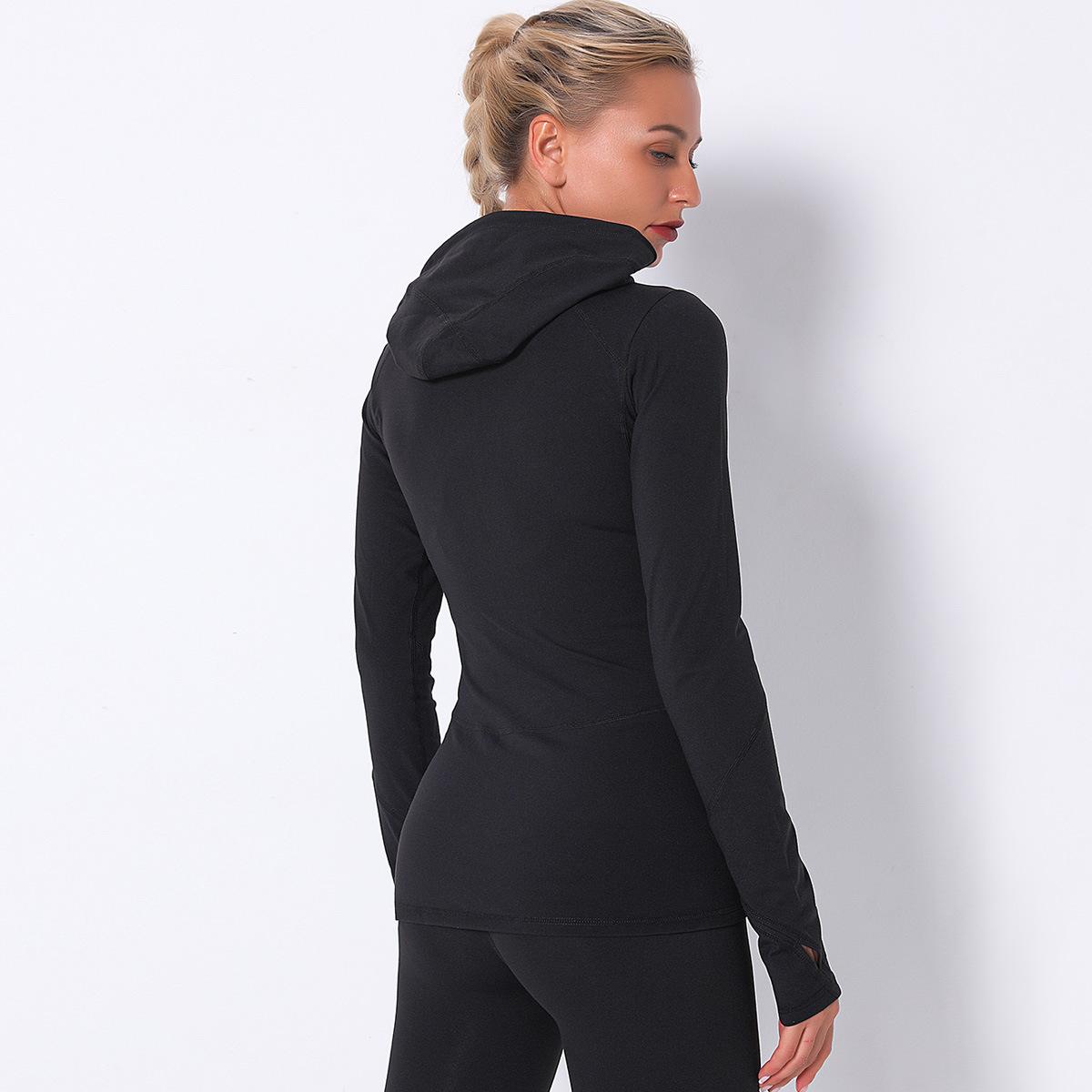 quick-drying front zipper hooded long sleeves sports shirt NSLX9046