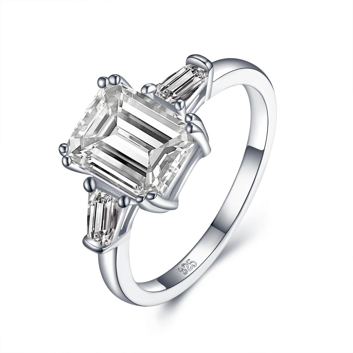 跨境飾品廠家直銷歐美流行S925純銀鑲AAAAA鋯石電鍍18K真金女戒指