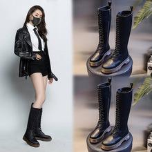 马丁靴女2020新款秋冬季英伦风高筒靴子女系带骑士长靴休闲女鞋潮