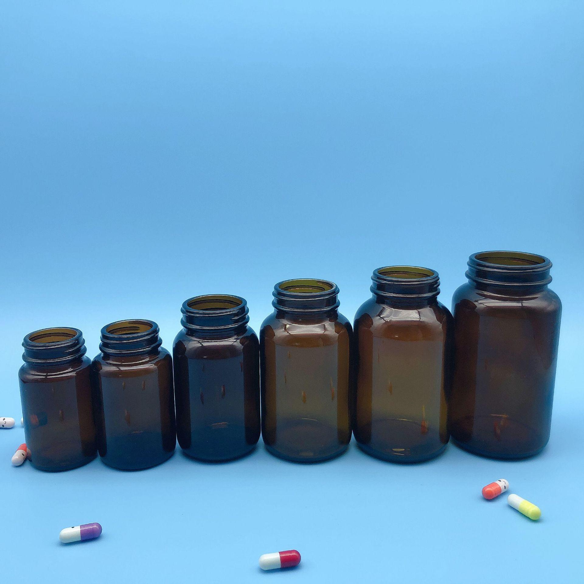 批发零售玻璃胶囊瓶 茶色玻璃药品瓶/虫草胶囊瓶60-500ml规格