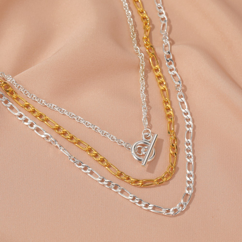 new set of chains punk style exaggerated short multilayer thick chain one word buckle alloy necklace NHMO243344