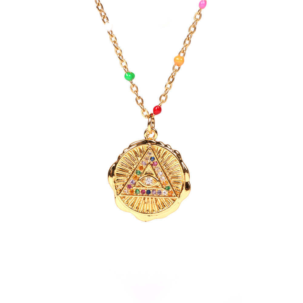 wholesale fashion retro colored diamonds Devil's eye round medal coin necklace eye clavicle chain NHPY257873