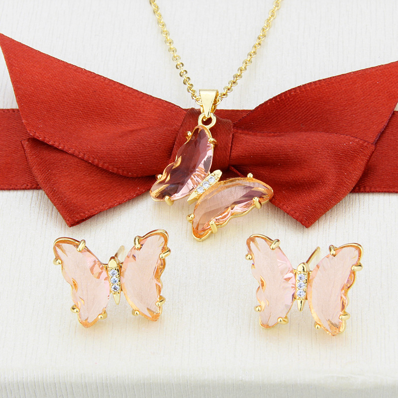 simple transparent butterfly earrings necklace set NHBP310490