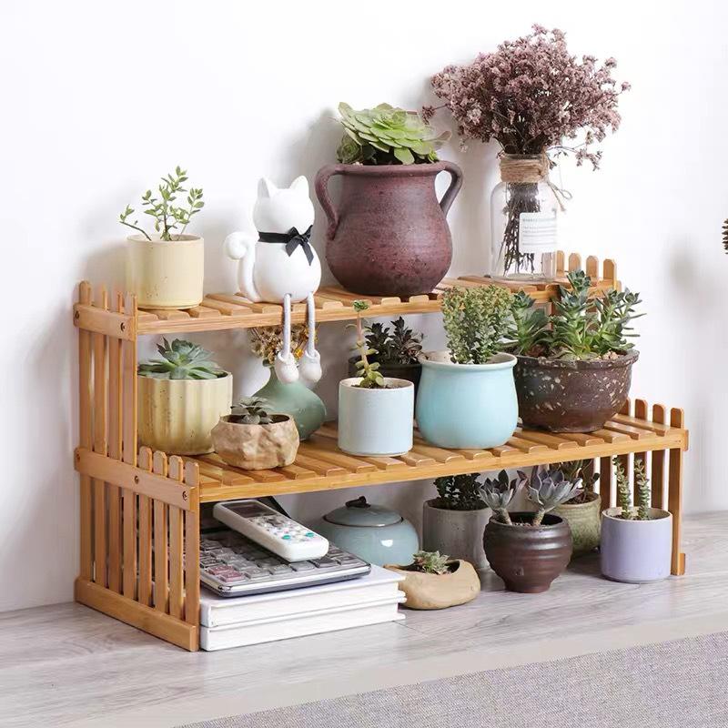 楠竹小花架办公室桌面实木盆栽架窗台多层迷你置物架客厅多肉花架