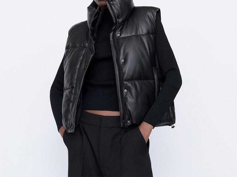 秋冬黑色棉服背心无袖立领侧口袋弹力带饰可调下摆女士PU马甲上衣
