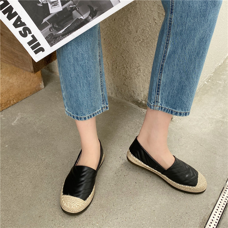 New spring and autumn new straw embroidery flat-bottomed casual shoes NSHU59502