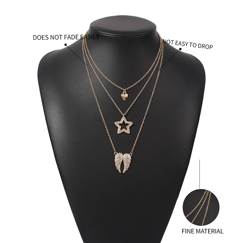 fashion trend point diamond star women's pendant alloy love multi-layer necklace hot-saling NHMD246191