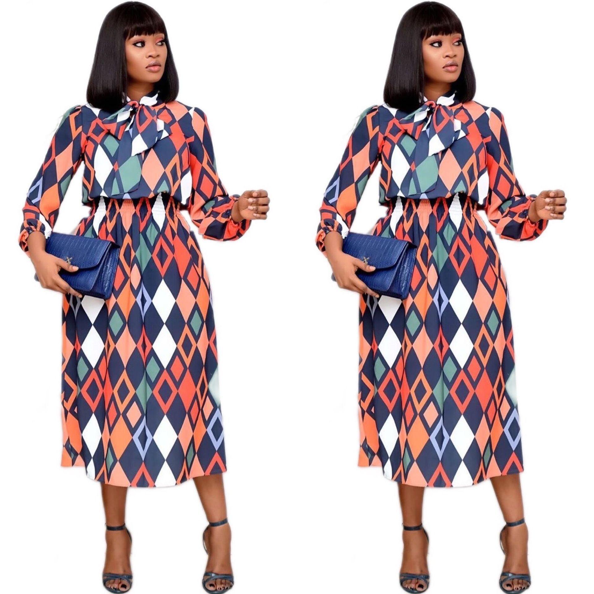 Manufacturer direct cross border source African women's printed waist down swing nine point sleeve dress spot dr054