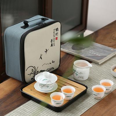 货源旅行茶具套装便携式四杯白瓷快客杯户外车载陶瓷功夫茶具整套家用批发