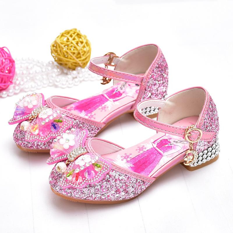 女童公主鞋韩版蝴蝶结儿童高跟鞋中小学生水晶鞋亮片小女孩皮鞋闪