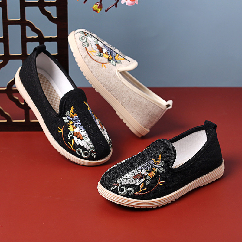 Boys' Chinese folk dance hanfu embroidered shoes handmade traditional children's shoes Beijing National single shoes ancient Chinese clothing shoes