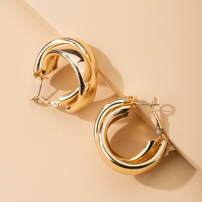 exaggerated round cross earrings South Korea trendy ear buckle minimalist ear jewelry wholesale NHAI239684