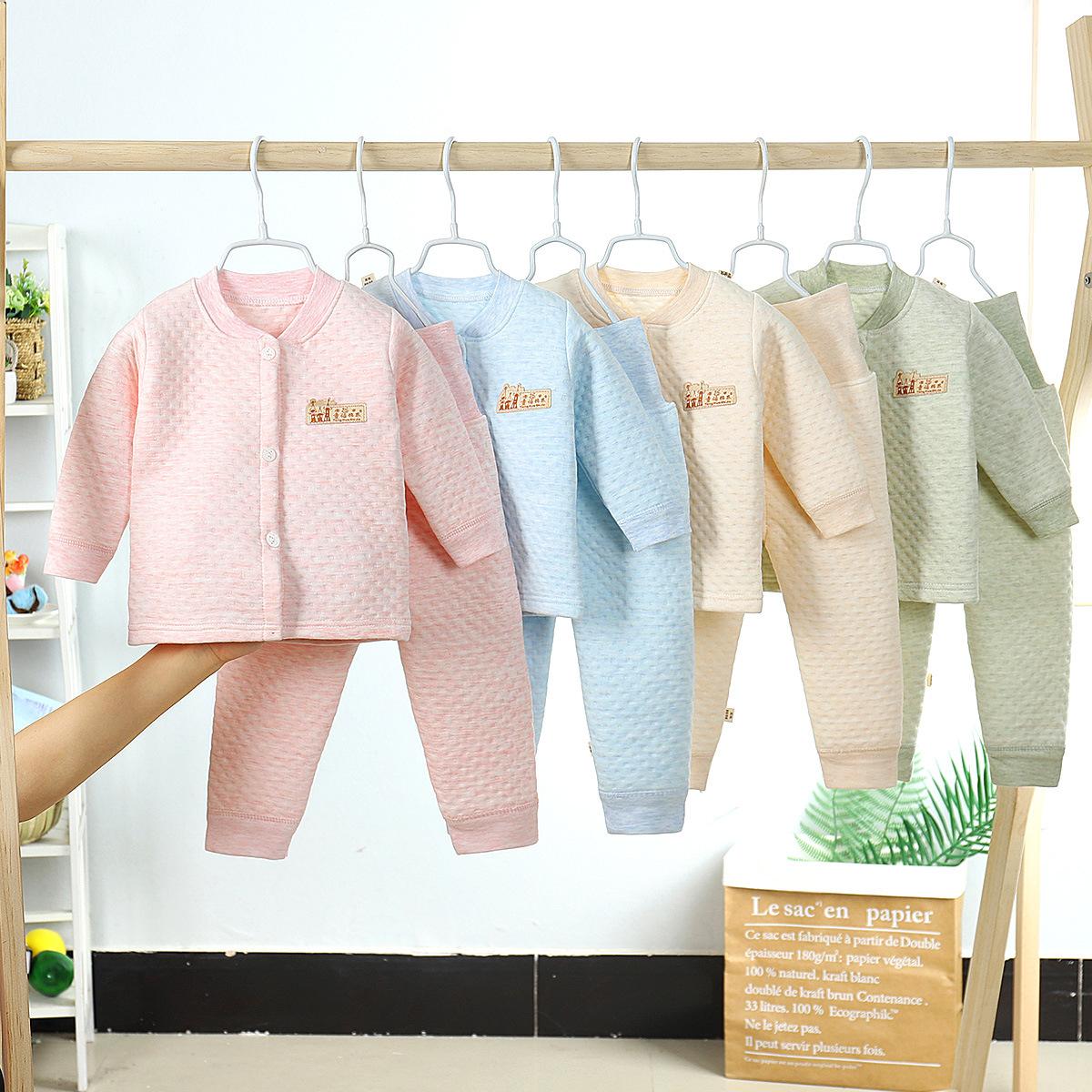 2020新款儿童内衣夹棉婴儿三层保暖加厚高腰护肚裤套装打底衣童装