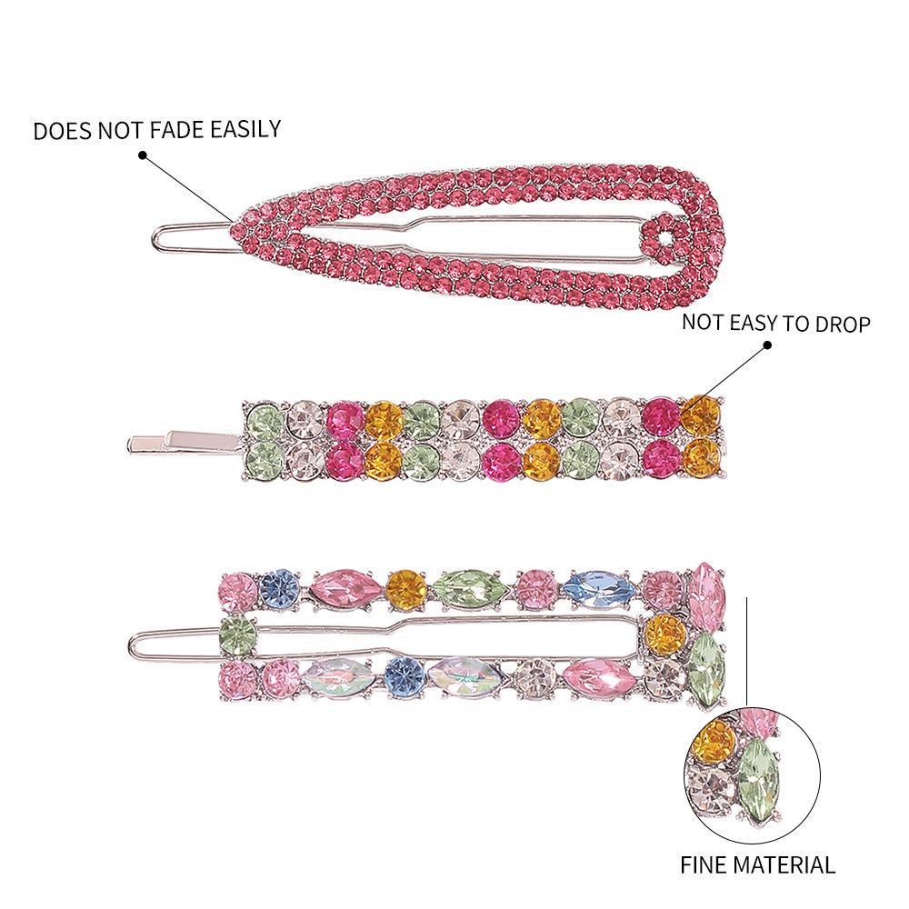 color rhinestone word hairpin girl hair accessories bangs clip hot sale wholesale nihaojewelry NHMD234079