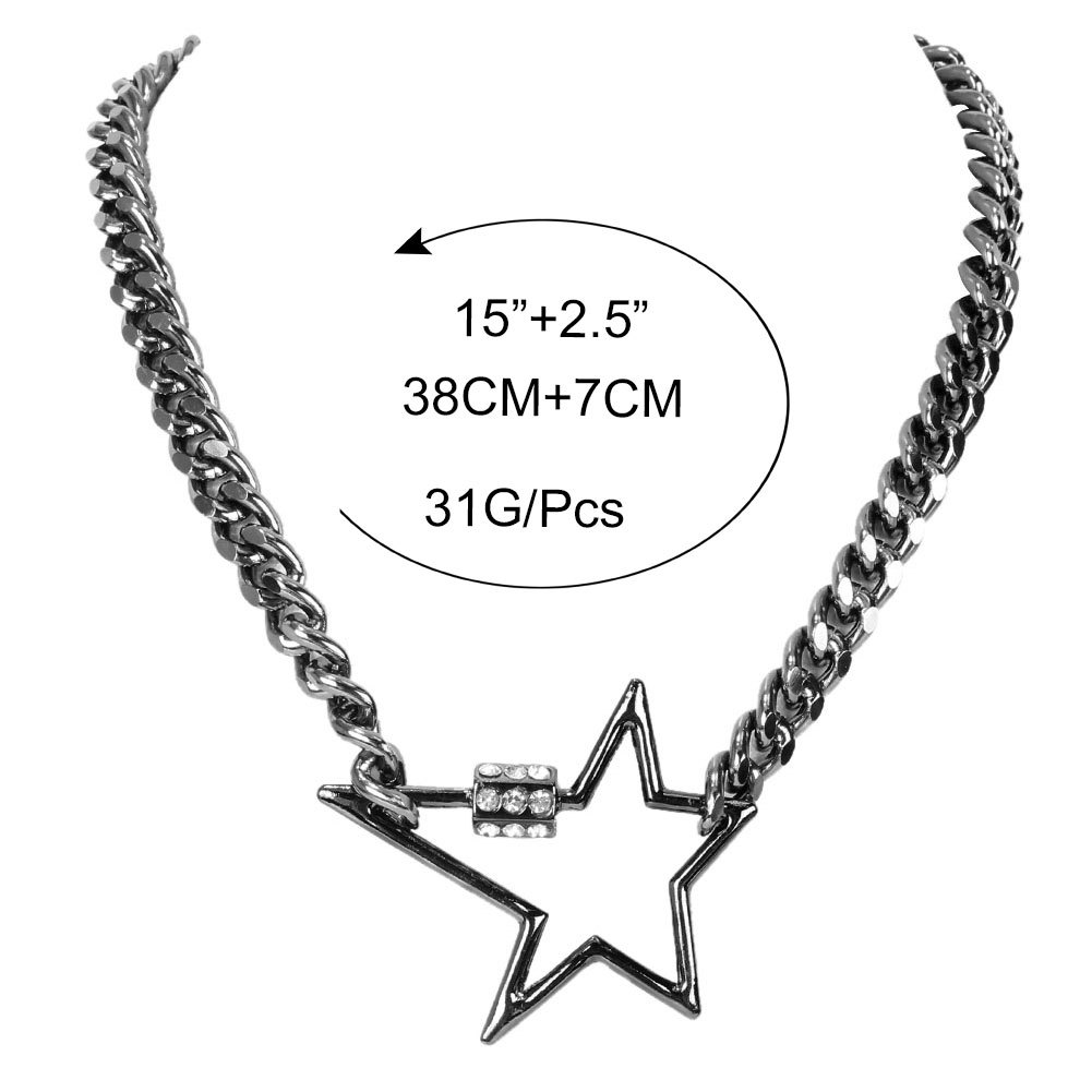 fashion diamond five-pointed star link buckle item simple clavicle chain carabiner alloy necklace  NHCT243496