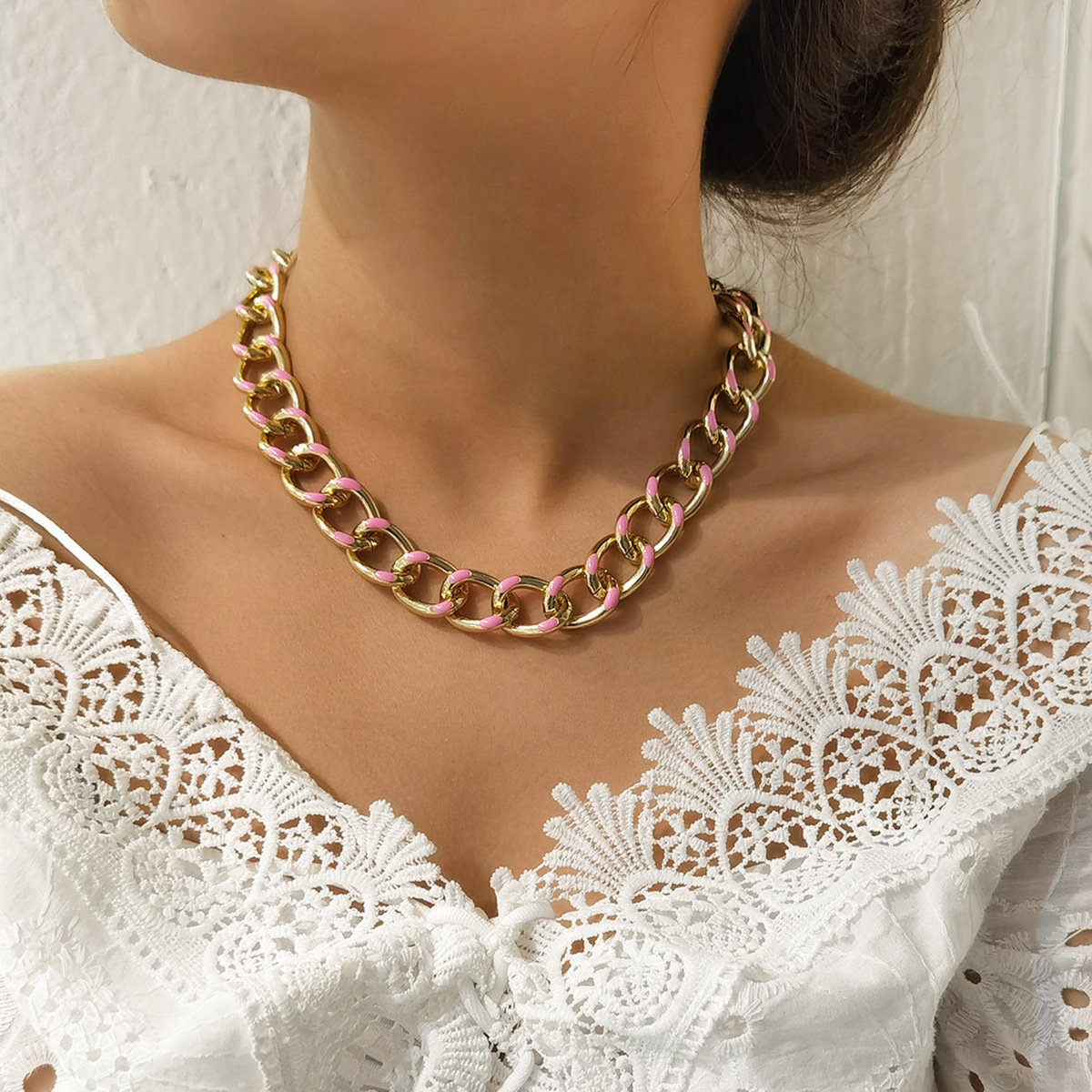 fashion simple illusion geometric wild clavicle chain necklace for women NHXR248184