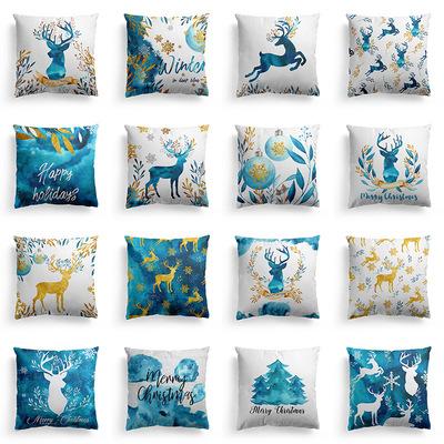 18'' Cushion Cover Pillow Case Christmas ocean blue watercolor elk pillow cover