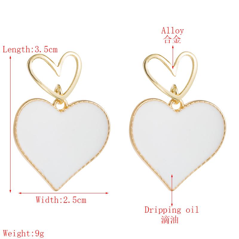 Korean fashion double love earrings heart-shaped oil drop hollow alloy earrings S925 silver needle earrings for women nihaojewelry wholesale NHLN214428