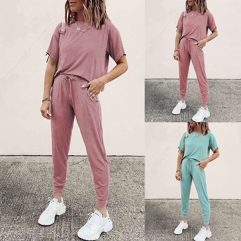 summer new women's hot style solid color round neck short sleeve casual suit NSKX5916