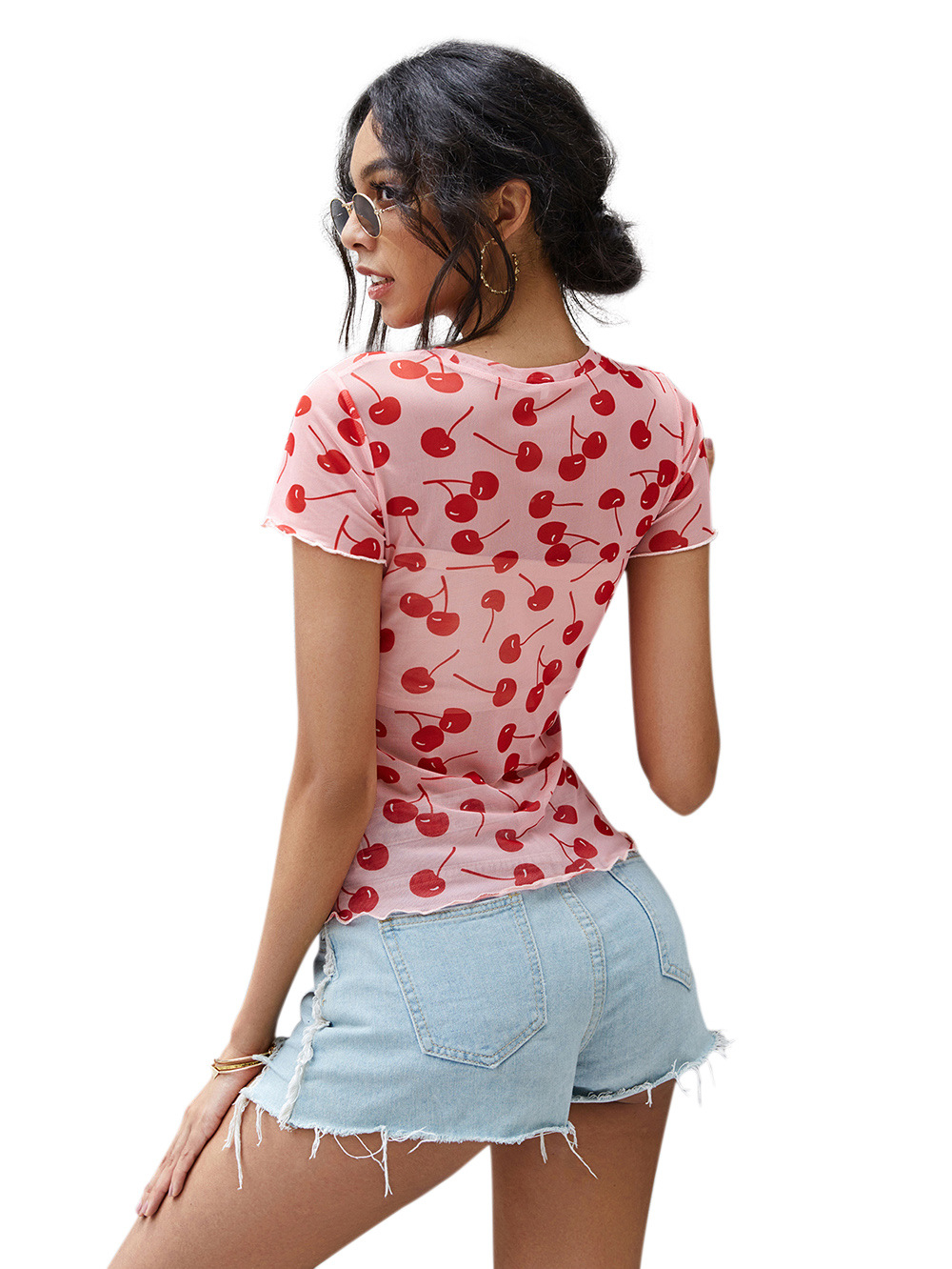 Cherry print stretch slim short-sleeved women's round neck fashion bottoming T   NSDF1543