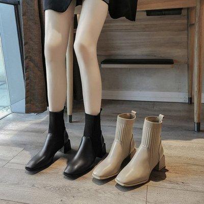 粗跟弹力袜子靴女2020新款秋冬韩版时尚方头短靴网红透气瘦瘦靴子