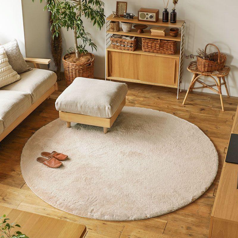 厂家直销纯色日式丝毛圆形地毯地垫 客厅卧室床边防滑地毯 可代发