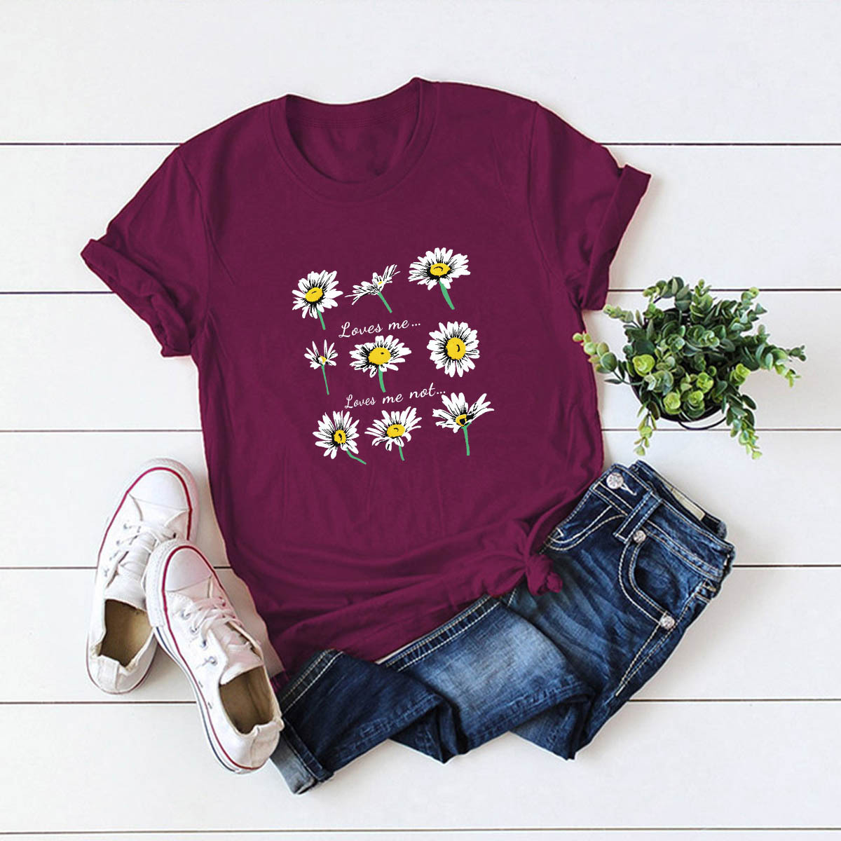 casual daisy print short-sleeved women's T-shirt NSSN3045
