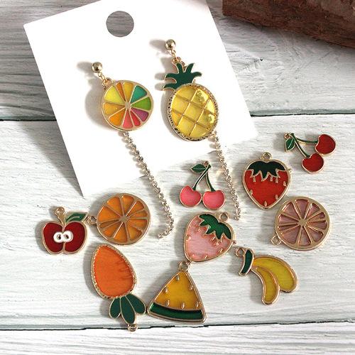 10pcs Alloy fruit DIY earring necklace bracelet jewelry accessories key chain pendant DIY dripping apple cherry fruit earrings pendant