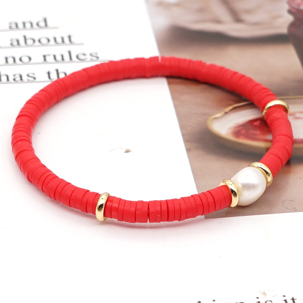 fashion bohemian beach style natural baroque pearl color soft ceramic letter bracelet for women NHGW243582